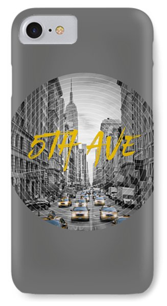 Graphic Art Nyc 5th Avenue IPhone Case by Melanie Viola