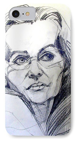 IPhone Case featuring the drawing Graphite Portrait Sketch Of A Woman With Glasses by Greta Corens
