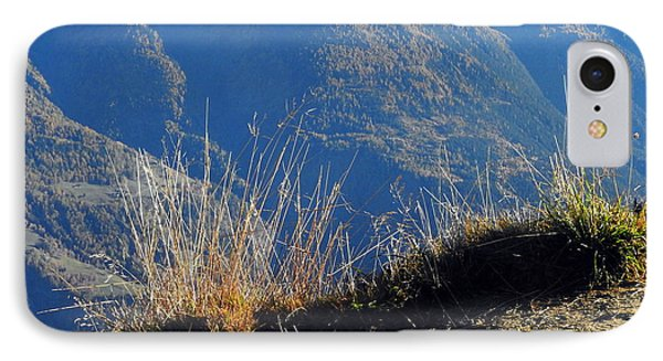Grass In The Foreground, The Main Valley Of The Swiss Canton Of Valais In The Background IPhone Case