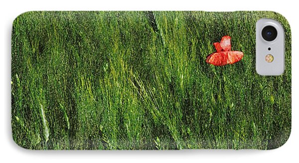 Grassland And Red Poppy Flower 2 IPhone Case by Jean Bernard Roussilhe