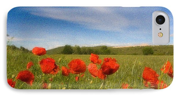 IPhone Case featuring the photograph Grassland And Red Poppy Flowers by Jean Bernard Roussilhe