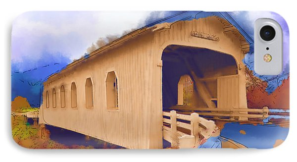 Grave Creek Covered Bridge In Watercolor IPhone Case