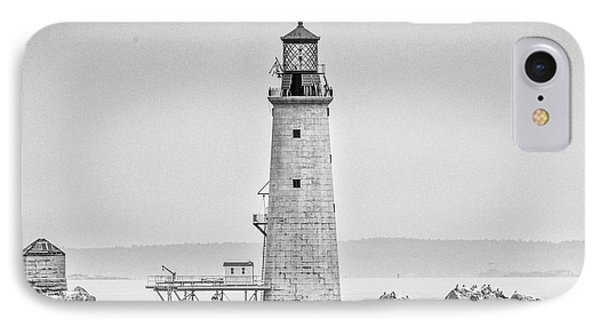 IPhone Case featuring the photograph Graves Lighthouse- Boston, Ma - Black And White by Peter Ciro