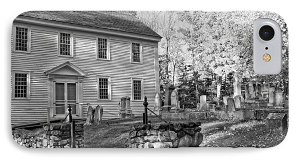Graveyard Old Country Church Black And White Photo IPhone Case by Keith Webber Jr
