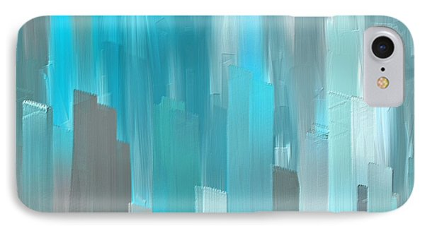 Gray And Teal Abstract Art IPhone Case by Lourry Legarde