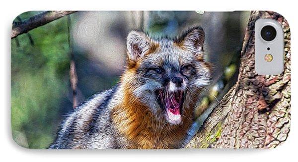 Gray Fox Awakens In The Tree IPhone Case
