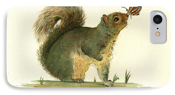 Gray Squirrel Butterfly IPhone Case by Juan Bosco