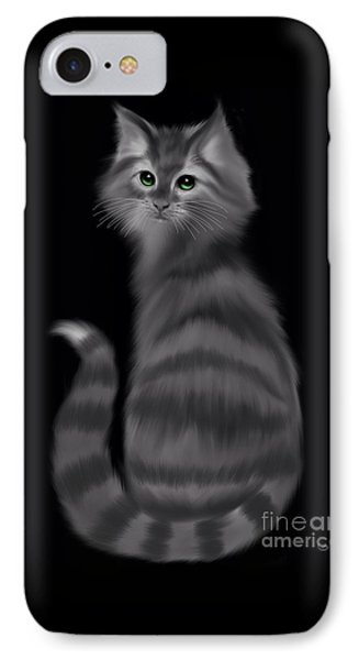 IPhone Case featuring the painting Gray Striped Cat by Nick Gustafson