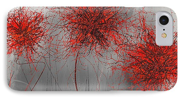 Grayish Vibrant Blooms- Red And Gray Modern Art IPhone Case by Lourry Legarde