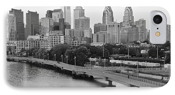 Grayscale Philly Skyline IPhone Case by Frozen in Time Fine Art Photography