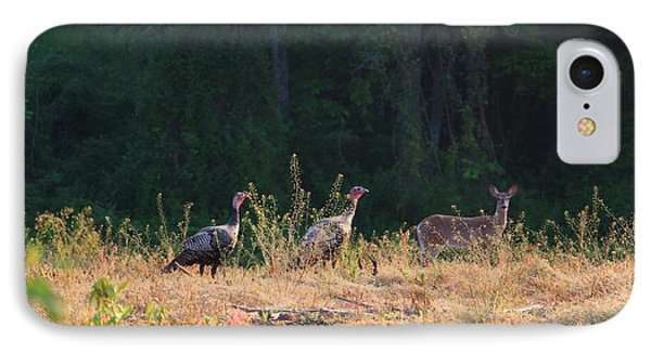 Grazing Turkey And Deer In Pomfret Farm Field  IPhone Case by Neal Eslinger