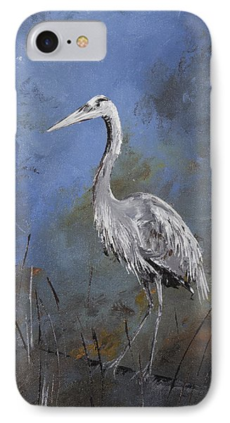 Great Blue Heron In Blue IPhone Case