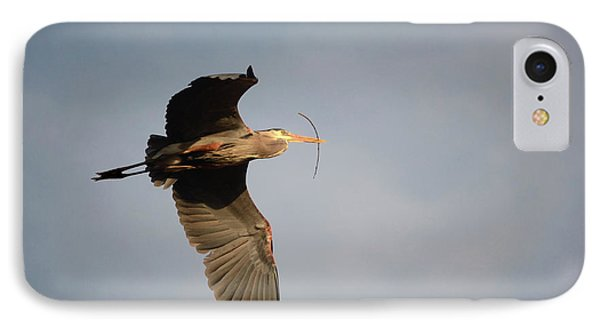 IPhone Case featuring the photograph Great Blue Heron In Flight by Ann Bridges