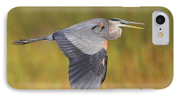 Great Blue Heron In Flight Phone Case by Bruce J Robinson