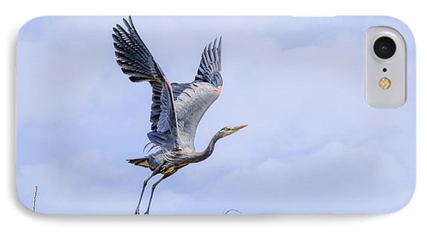 Great Blue Heron In Flight IPhone Case by Keith Boone