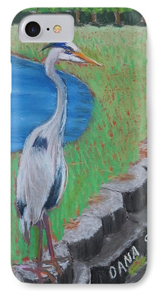Great Blue Heron In Front Of Orchard IPhone Case