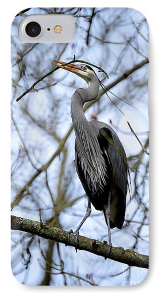 IPhone Case featuring the photograph Great Blue Heron Nesting 2017 - 6 by Terry Elniski