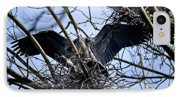 IPhone Case featuring the photograph Great Blue Heron Nesting 2017 - 9 by Terry Elniski