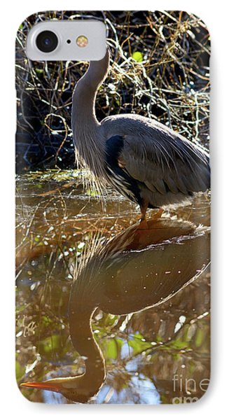 IPhone Case featuring the photograph Great Blue Heron Reflection by Terry Elniski