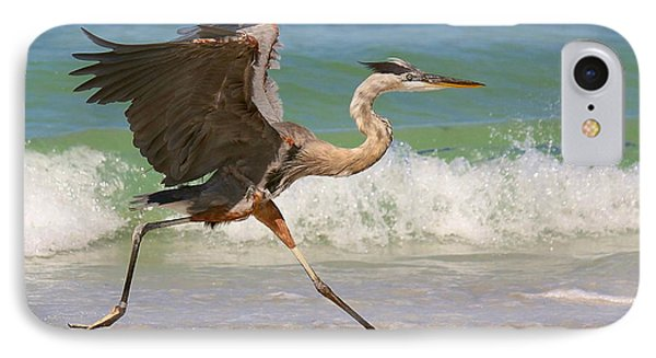 Great Blue Heron Running In The Surf IPhone Case