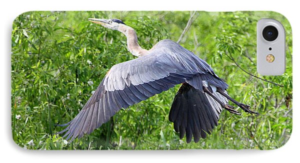 IPhone Case featuring the photograph Great Blue Heron Takeoff by Barbara Bowen