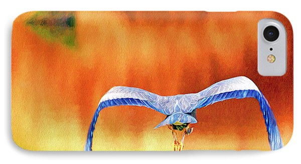 IPhone Case featuring the digital art Great Blue Heron Winging It Photo Art by Sharon Talson