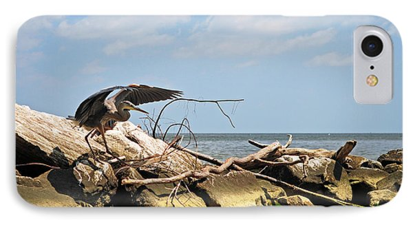 Great Blue Heron Wings Outstretched Phone Case by Rebecca Sherman
