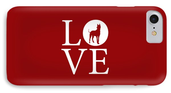 Great Dane Love Red IPhone Case by Nancy Ingersoll