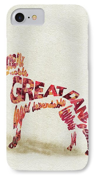 IPhone Case featuring the painting Great Dane Watercolor Painting / Typographic Art by Ayse and Deniz