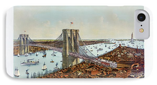 Great East River Suspension Bridge 1892 IPhone Case