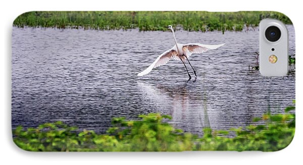 Great Egret Taking Off IPhone Case by Vishwanath Bhat