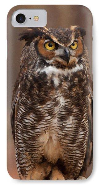 Great Horned Owl Digital Oil IPhone Case by Chris Flees