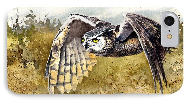 Great Horned Owl In Flight IPhone Case