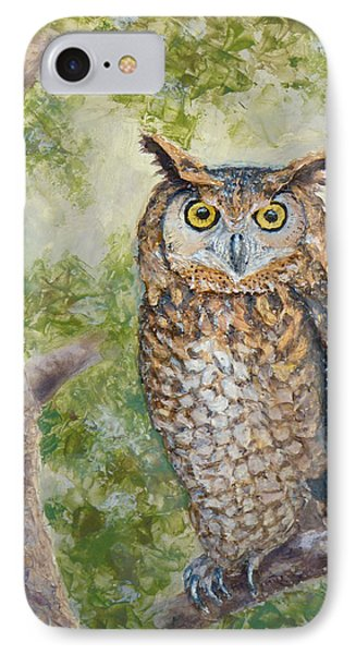 IPhone Case featuring the painting Great Horned Owl by Joe Bergholm