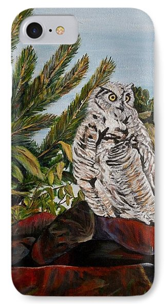 Great Horned Owl - Owl On The Rocks Phone Case by Marilyn  McNish