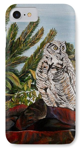 IPhone Case featuring the painting Great Horned Owl - Owl On The Rocks by Marilyn  McNish