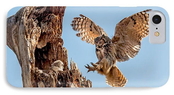 Great Horned Owl Returning To Her Nest IPhone Case
