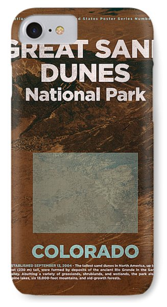Great Sand Dunes National Park In Colorado Travel Poster Series Of National Parks Number 26 IPhone Case by Design Turnpike