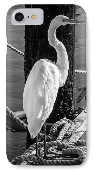 Great White Heron In Black And White IPhone 7 Case by Garry Gay