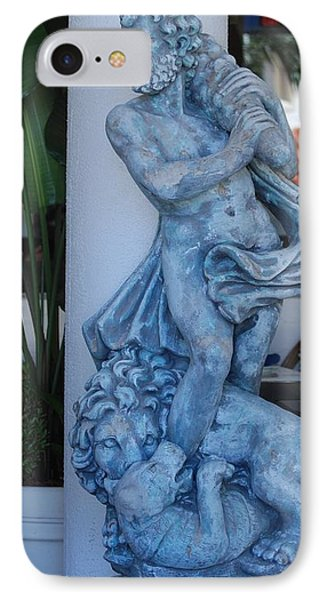 Greek Dude And Lion In Blue Phone Case by Rob Hans