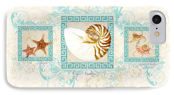 Greek Key Nautilus Starfish N Conch Shells IPhone Case by Audrey Jeanne Roberts