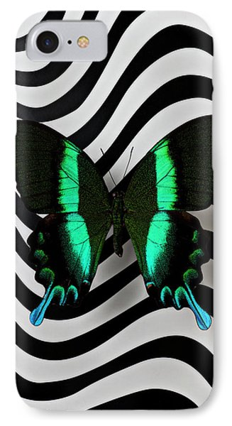 Green And Black Butterfly On Wavey Lines Phone Case by Garry Gay