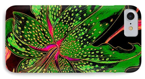 Green And Pink Stargazer IPhone Case by Laura Wilson