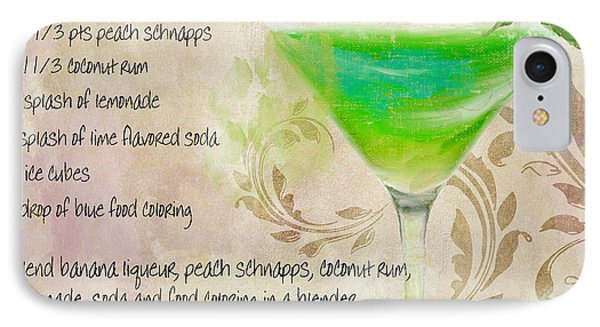 Green Angel Mixed Cocktail Recipe Sign IPhone 7 Case by Mindy Sommers
