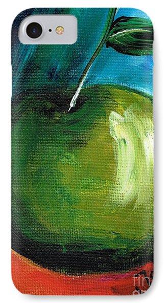 IPhone Case featuring the painting Green Apple by Jolanta Anna Karolska