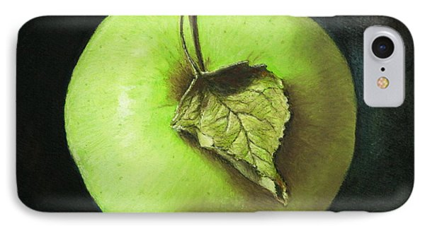 Green Apple With Leaf IPhone Case by Marna Edwards Flavell