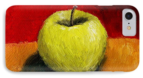 Green Apple With Red And Gold Phone Case by Michelle Calkins