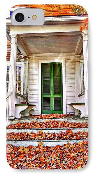 Green Autumn Door IPhone Case by Joan Reese