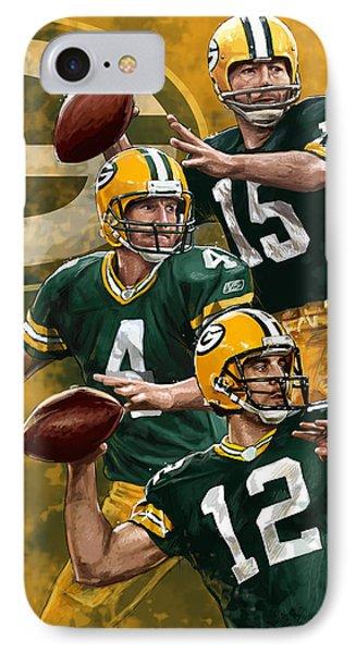 Green Bay Packers Quarterbacks IPhone Case by Nate Baranowski