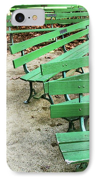 Green Benches- Fine Art Photo By Linda Woods IPhone Case by Linda Woods
